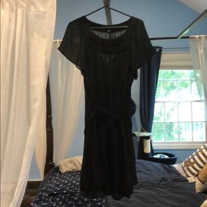 Black shift dress with slip and tie waste, XL